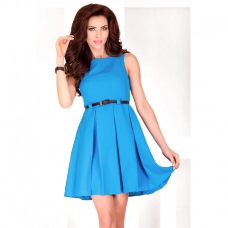 Dámské elegantní společenské šaty bez rukávu s páskem modré, Velikost L, Barva Modrá NUMOCO 6-7