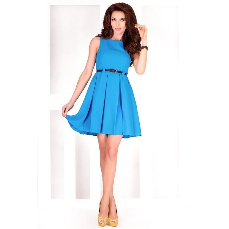 e36dc26c2db4 Dámské elegantní společenské šaty bez rukávu s páskem modré