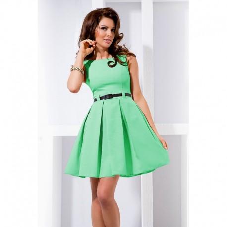 Dámské elegantní společenské šaty bez rukávu s páskem tyrkysové 3a385f341f
