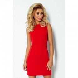 Elegantní šaty bez rukávu se záhyby v pase červené