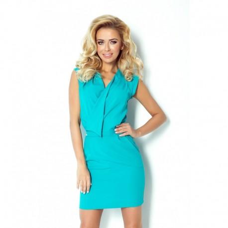 Krásné elegantní šaty s přeloženým dekoltem tyrkysové, Velikost L, Barva Tyrkysová NUMOCO 94-5