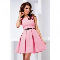 Dámské elegantní společenské šaty bez rukávu s páskem růžové