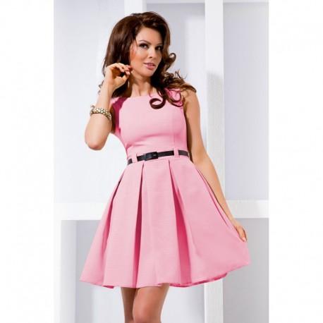 8f32953e0d2 Dámské elegantní společenské šaty bez rukávu s páskem růžové