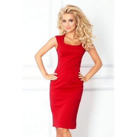 Dámské elegantní společenské šaty bez rukávu červené