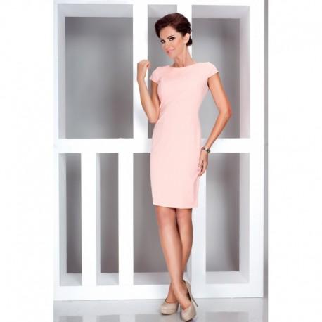 Dámské elegantní šaty s krátkým rukávem lososové d02d158fbf1