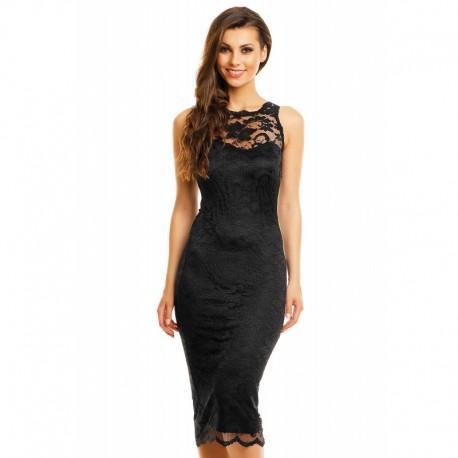 Dámské šaty Paris s krajkou černé, Velikost L, Barva Černá Mayaadi Deluxe 261