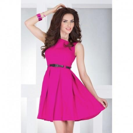 Dámské elegantní společenské šaty bez rukávu s páskem malinové 20dfb63192a