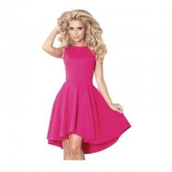 Luxusní dámské společenské a plesové šaty bez rukávu malinové