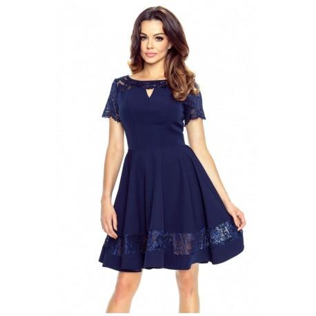 Krásné šaty s krajkou tmavě modré