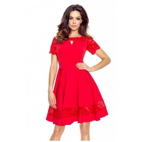 Krásné šaty s krajkou červené 5901