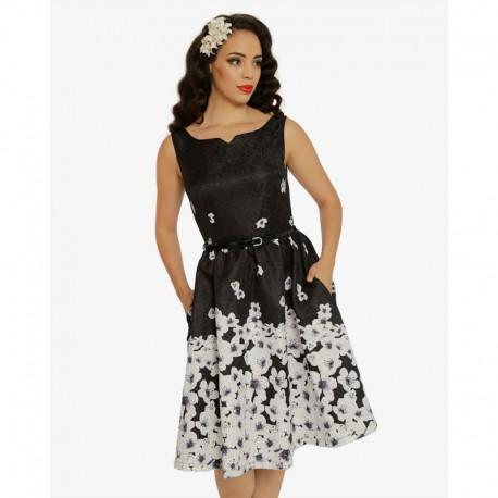 Dámské retro šaty Delta Black Blossom Floral, Velikost 40, Barva Černá Lindy Bop 5056041