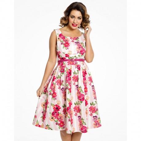 Dámské šaty Lindy Bop Delta Floral Pink, Velikost 42, Barva Barevná Lindy Bop 78722