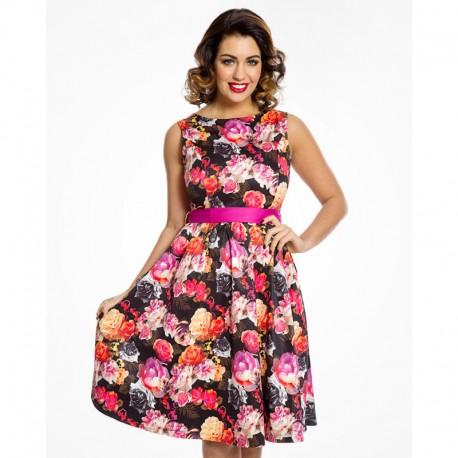 Dámské šaty Lindy Bop Audrey Vibrant Floral, Velikost 42, Barva Barevná Lindy Bop 65207