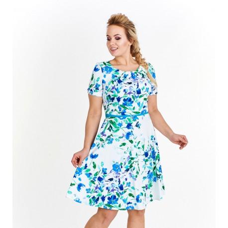 Dámské květované šaty Katherine bílé, Velikost 38, Barva Barevná Milano Moda MM02/38