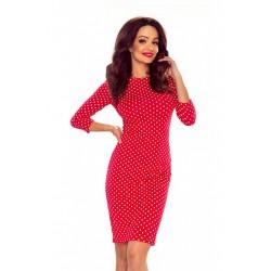 Dámské  pouzdrové puntíkaté šaty červené