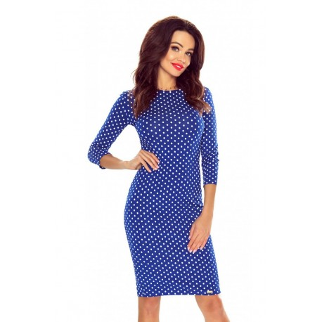 Pouzdrové puntíkaté šaty modré, Velikost L, Barva Modrá Bergamo 2725