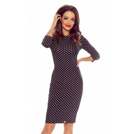 Pouzdrové puntíkaté šaty černé, Velikost L, Barva Černá Bergamo 2727