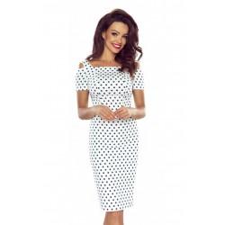 Pouzdrové šaty s puntíky – bílé