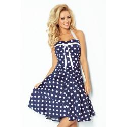 Dámské šaty ROCKABILLY modré s bílou