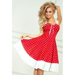 Dámské šaty PIN UP červené s bílými puntíky