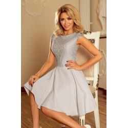 Dámské šaty s krajkou Ellie šedé