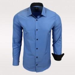 Pánská košile s dlouhým rukávem modrá