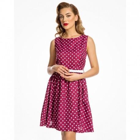 Dámské šaty Lindy Bop Audrina, Velikost 42, Barva Vínová Lindy Bop 6128
