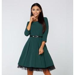 Šaty Elena s 3/4 rukávem tmavě zelené