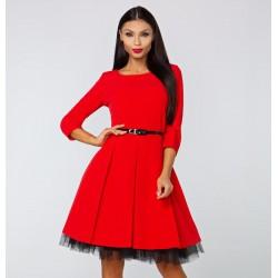 Dámské šaty Veronica s 3/4 rukávem červené