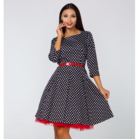 Retro šaty Erica s 3 4 rukávem a puntíky 685000d7479