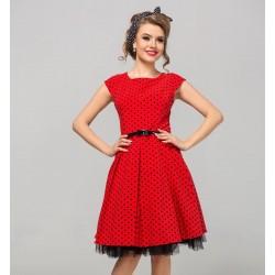 Retro šaty Camilla s puntíky červené