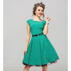 Retro šaty Angela s puntíky zelené