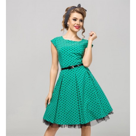 de153a812458 Retro šaty Angela s puntíky zelené