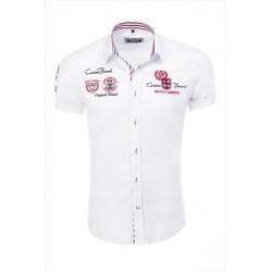 Pánská košile bílá s výšivkami a nápisy