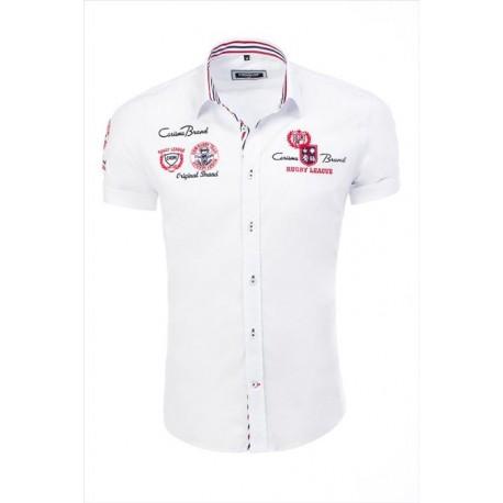 Pánská košile bílá s výšivkami a nápisy, Velikost L, Barva Bílá CARISMA 9002