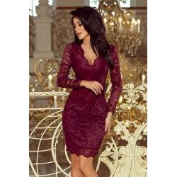 Luxusní dámské krajkové šaty Olivia vínové