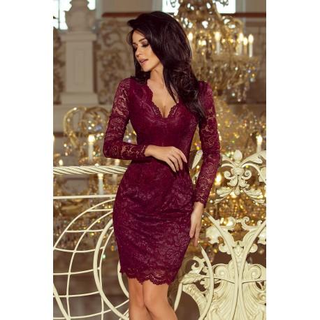 Luxusní dámské krajkové šaty Olivia vínové 9f6de08601