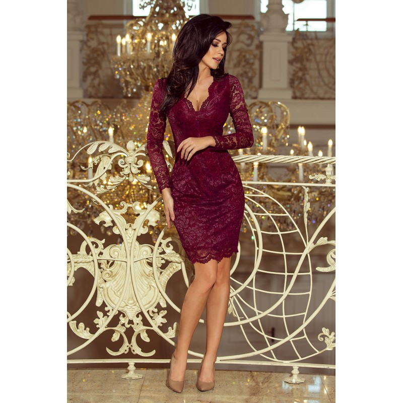 ... Luxusní dámské krajkové šaty Olivia vínové ... 7aa5e0acc0