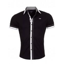 Pánská košile s krátkým rukávem Slim Fit černá