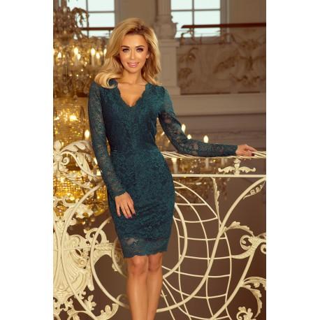 267e1059b668 Luxusní dámské krajkové šaty Olivia smaragdové