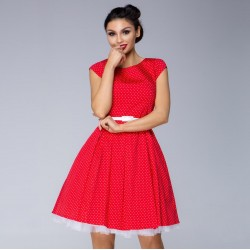 Dámské šaty s drobným puntíkem červené
