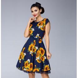 Dámské šaty Slunečnice tmave modré