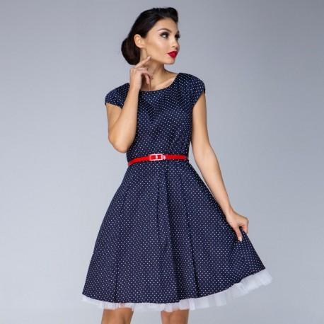 Dámské šaty Amy dots tmavě modré