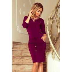 Sportovní fialové šaty s tkanicí
