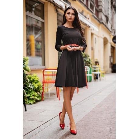 Dámské šaty ADELLE s 3/4 rukávem černé