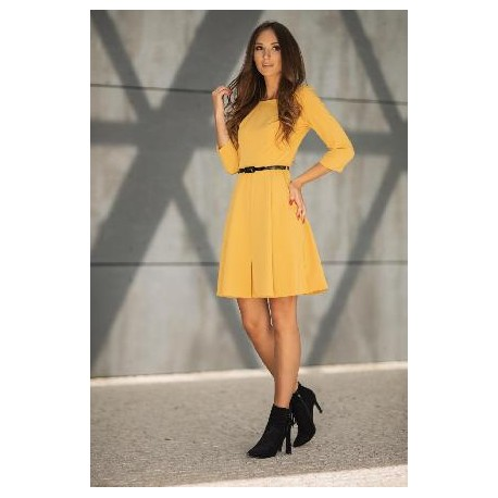 Dámské šaty MIA s 3/4 rukávem - žluté