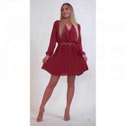 Vínové šifonové šaty s plisovanou sukní