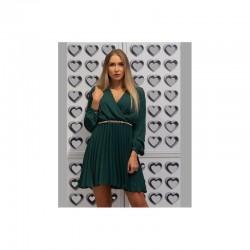 Zelené šifonové šaty s plisovanou sukní