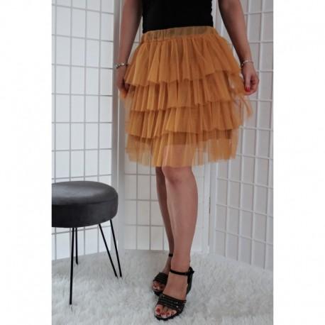 Krátká tylová sukně hořčicová
