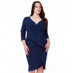 Dámské pouzdrové šaty modré pro plnoštíhlé